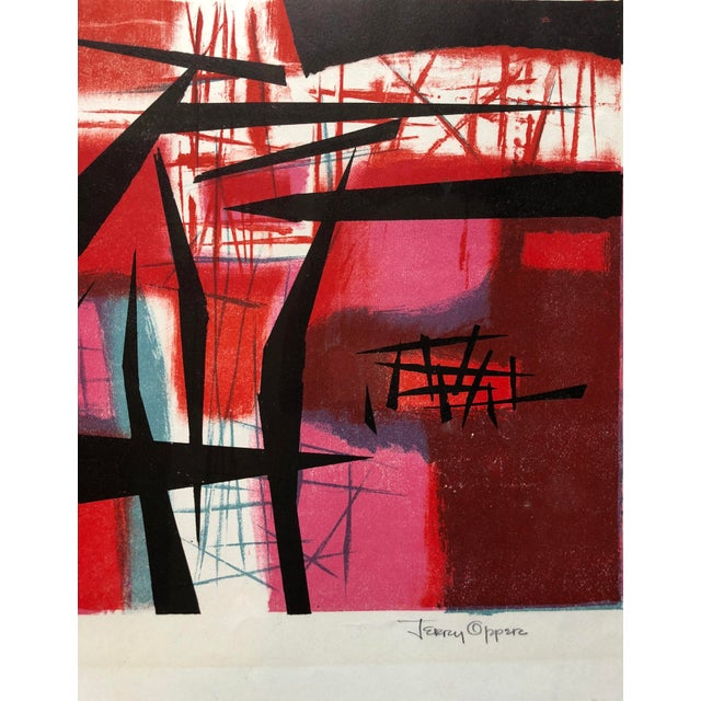 """Signed Jerry Opper Bay Area Artist Abstract Print """"Frame of Reference"""" For Sale In New York - Image 6 of 10"""