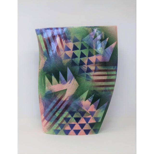 Geometric Ceramic Vase For Sale In New York - Image 6 of 6