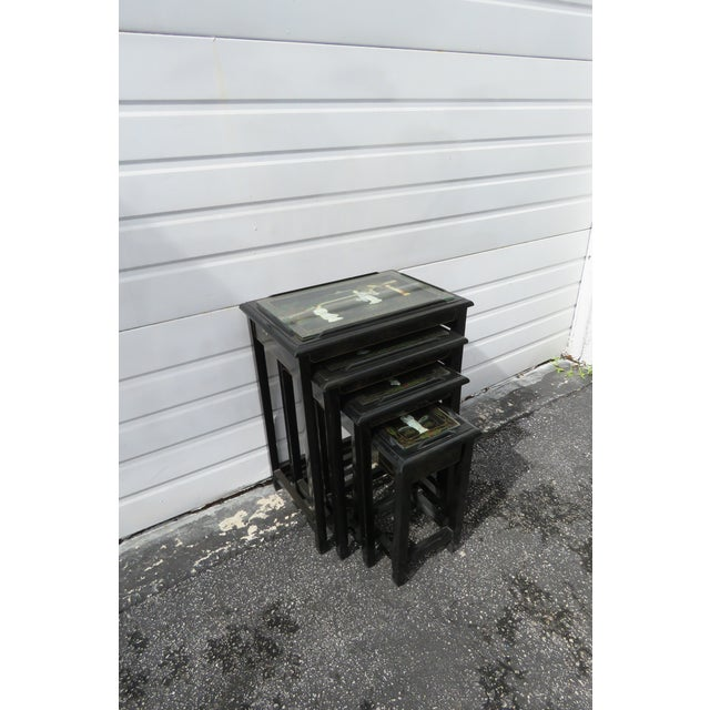Oriental Black Painted Nesting Tables Set of Four For Sale - Image 10 of 13