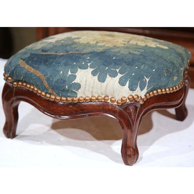 Mid-19th Century French Louis XV Carved Walnut Footstool For Sale - Image 4 of 7