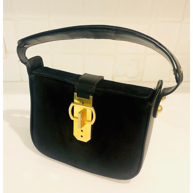 1980s Saks Fifth Avenue Suede and Leather Shoulder Bag For Sale - Image 13 of 13