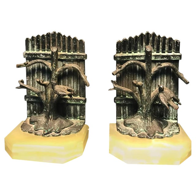 Beautiful Pair of Bookends With Birds For Sale