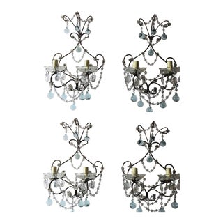 1920 French Set of Four ICE Blue Murano Glass Drops and Beads Sconces For Sale