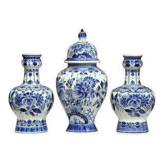 Pair of 20th Century Painted Blue and White Delft Vases and Matching Ginger Jar
