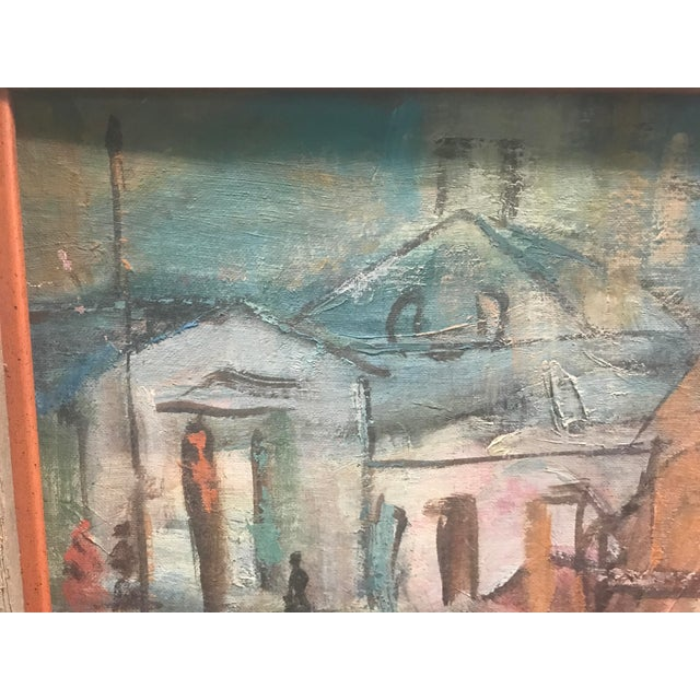 Mid-Century Modern Mid Century Acrylic Painting of a Boat Scene by Emily Spencer For Sale - Image 3 of 6