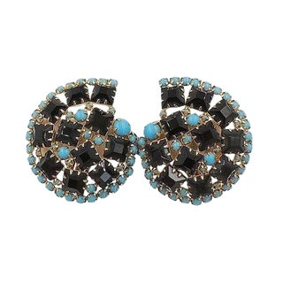 1960s Hattie Carnegie Rhinestone Earrings For Sale