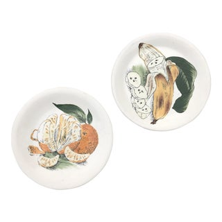 Staffordshire Banana & Orange Decorative Plates - A Pair