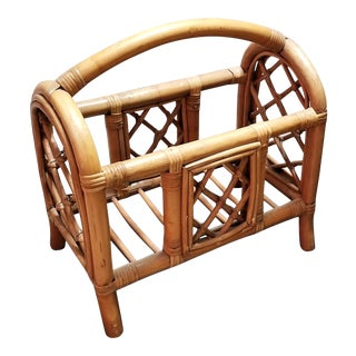 Vintage Pencil Reed and Rattan Bamboo Magazine Holder For Sale