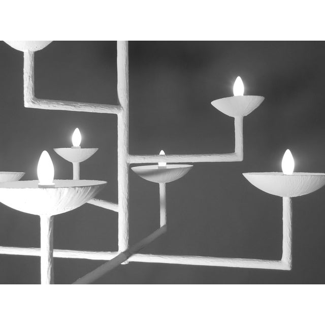 Contemporary 7 Cup Plaster Chandelier For Sale - Image 3 of 12