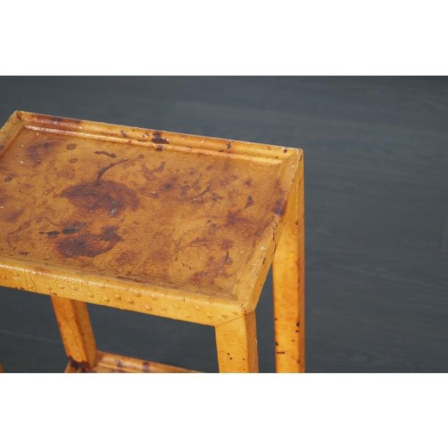 Metal Vintage Ostrich Leather Table by Karl Springer For Sale - Image 7 of 9
