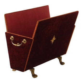 French Red Velvet Magazine Rack With Brass Detail C. 1950 For Sale