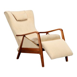 Paolo Buffa Style Mid Century Wood Frame Reclining Chair For Sale