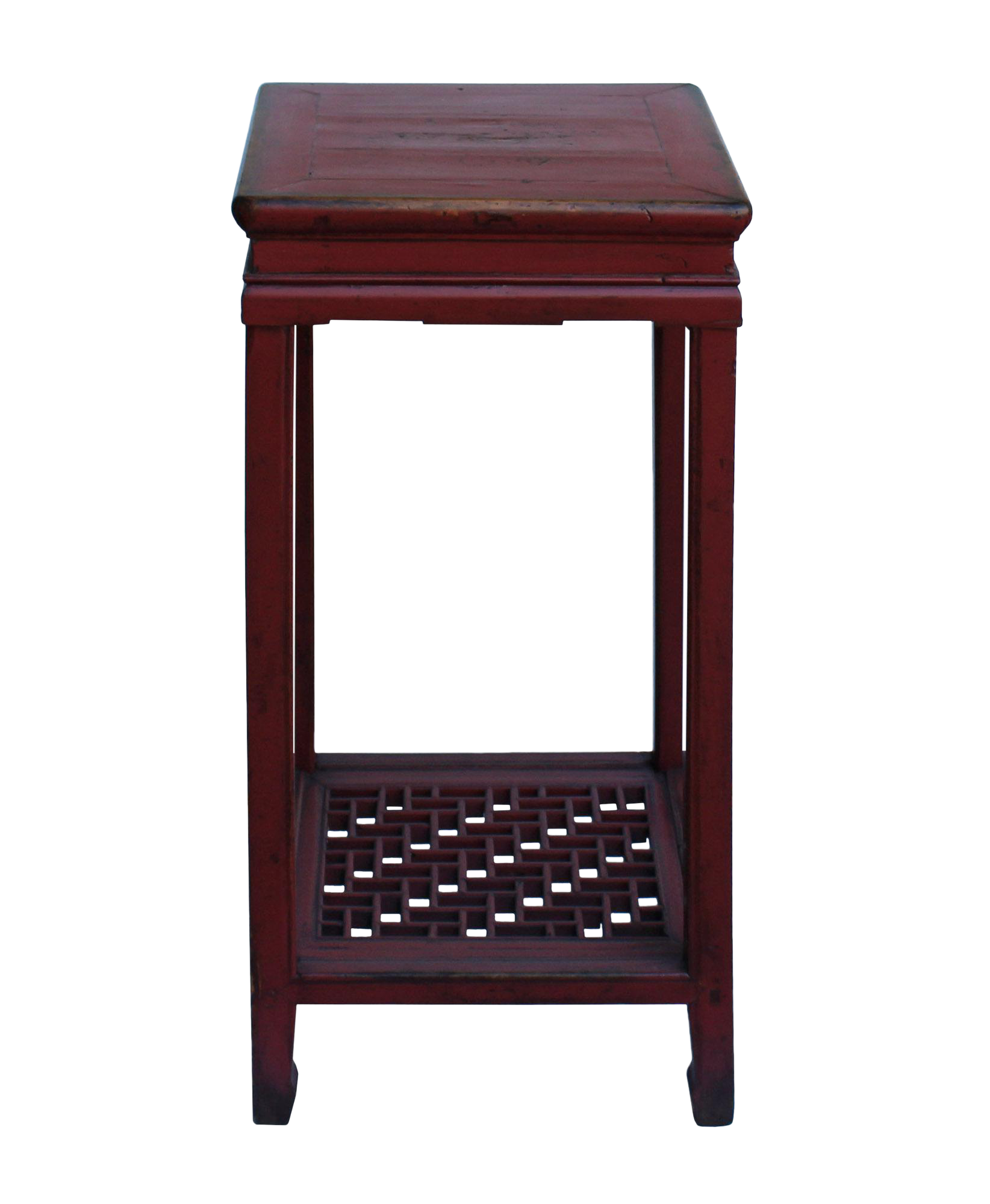 Chinese Square Distressed Red Wood Pedestal Plant Stand Table