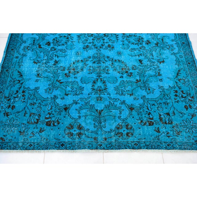 """Sky Blue Cyan Blue Overdyed Turkish Hand Knotted Rug - 6'5"""" X 10' For Sale - Image 8 of 10"""