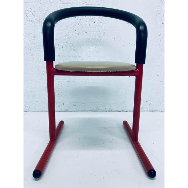 Red Postmodern Amisco Chair or Stool With Foam Back For Sale - Image 8 of 11