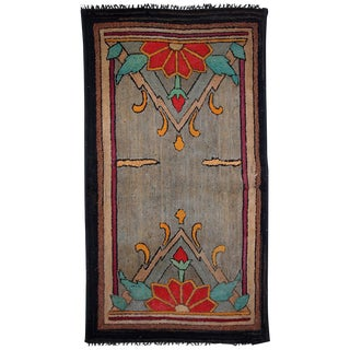 """1900s Handmade Antique American Hooked Rug - 2'4"""" x 4'3"""" For Sale"""