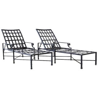Pair of Neoclassical Style Aluminum Garden Chaise Lounges For Sale