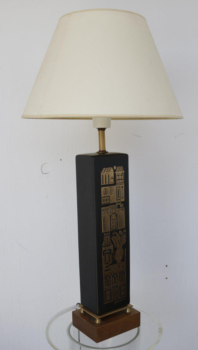 This Stunning 1960s Matt Black Ceramic Accent Lamp By Georges Briard  Features A Gold Embossed Village
