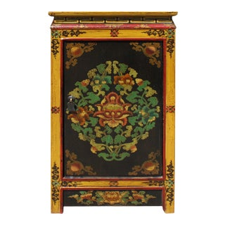 Black Yellow Tibetan Style Floral End Table Nightstand For Sale