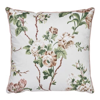 """Cottage Schumacher X Veere Grenney Betty Chintz Quiet Pink Two-Sided Cotton Pillow - 18ʺW × 18""""H For Sale"""