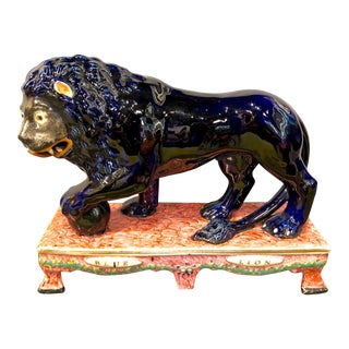 Blue Stafford Lion Figurine For Sale