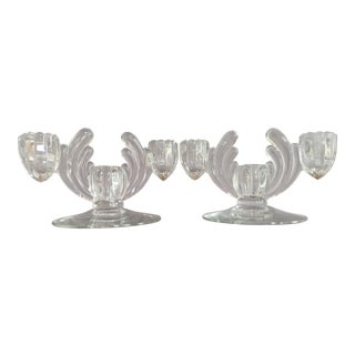 Vintage Art Deco Triple Light Candlesticks - a Pair For Sale