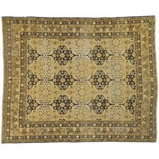Early 20th Century Antique Distressed Persian Yazd Rug- 9′10″ × 12′2″ For Sale