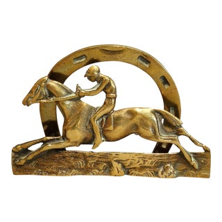 English Brass Equestrian Letter Rack For Sale