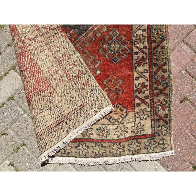 Textile Vintage Hand Knotted Turkish Runner For Sale - Image 7 of 8