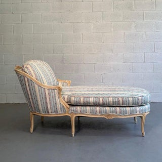 1960s Vintage Upholstered Carved Mahogany Chaise Preview
