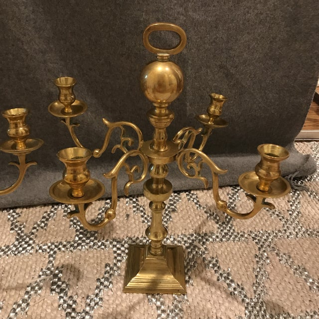 Traditional Vintage Estate Scale Brass Candlestick Candleabra - a Pair For Sale - Image 3 of 7