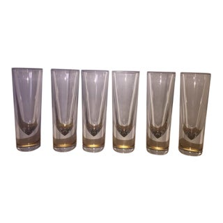 1980s Carlo Moretti Italy Hand Blown Drinking Glasses - Set of 6 For Sale