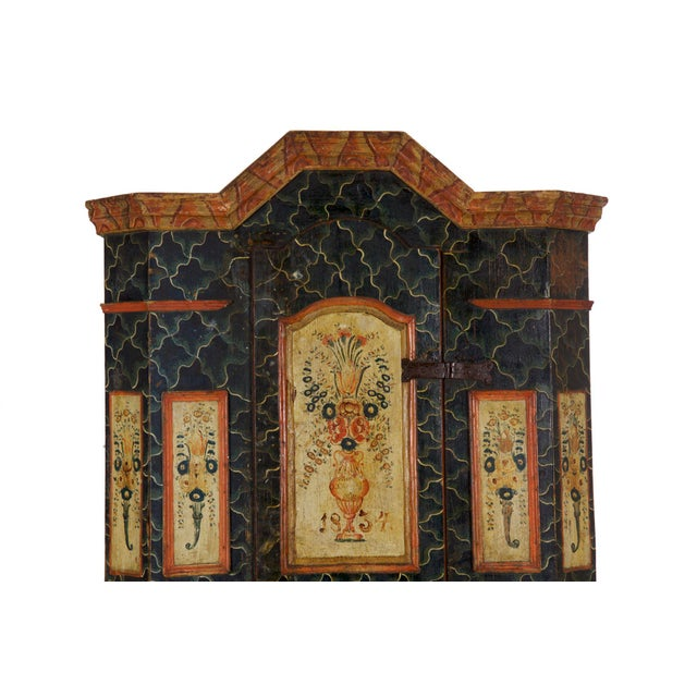 Paint 19th Century Antique Painted Armoire Cabinet Circa Late 19th Century For Sale - Image 7 of 13