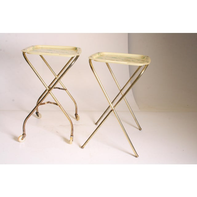 Mid Century Modern Yellow & Green TV Tray Tables - Set of 4 - Image 7 of 11