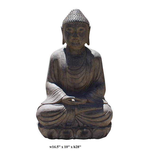 Chinese Stone Sitting Buddha Amitabha Shakyamuni Statue - Image 6 of 6