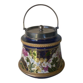 Antique Cobalt Biscuit Jar For Sale