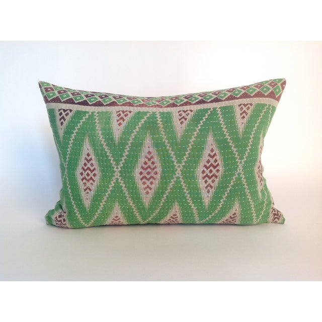 One Indian vintage green block printed quilt pillow with natural linen back and hidden zipper. Insert included.
