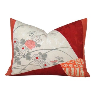Color Blocked Japanese Floral Silk Kimono Lumbar Pillow Cover For Sale