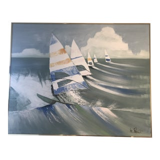 Mid Century Sailboats Oil Painting by Lee Reynolds For Sale