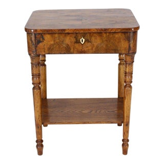 19th Century Biedermeier Burl Walnut One Drawer Sewing Stand Table For Sale