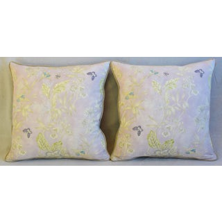 "Pale Lavender Wildflower & Butterfly Linen Feather/Down Pillows 23"" Square - Pair Preview"
