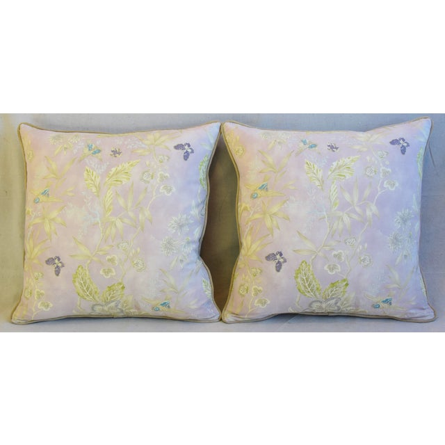Pair of custom-tailored pillows in vintage linen fabric with a wildflower, floral and butterfly motif. Vintage sand...