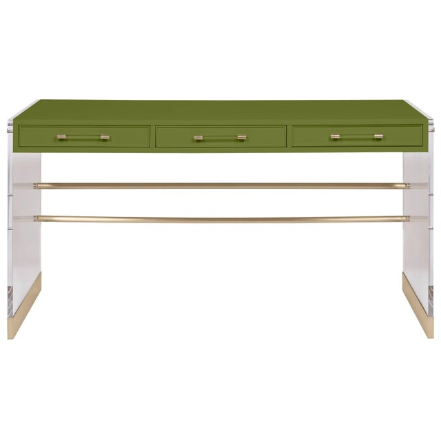 Transitional Casa Cosima Arden Desk with Taper Leg Base, Timson Green For Sale - Image 3 of 3