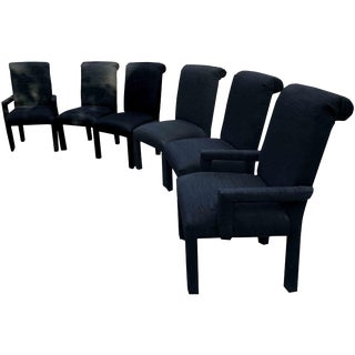 1980s Vintage Hollywood Regency Black Dining Chairs - Set of 6 For Sale