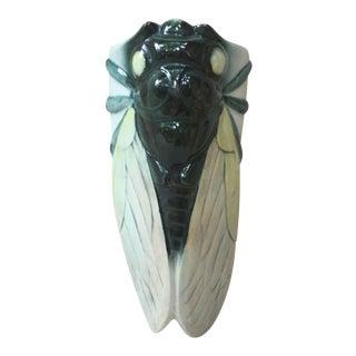 1930 Vintage Porcelain Cicada Wall Pocket For Sale