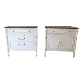 20th Century Faux Bamboo Nightstands - a Pair For Sale