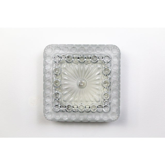 Farmhouse 1970s Clear & Frosted Glass Diamond / Square Flush Mount With Circle Motif For Sale - Image 3 of 11