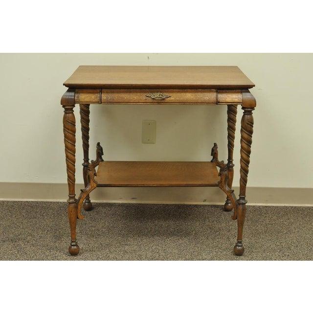 Traditional Antique Victorian Oak Barley Twist Figural Ladies Writing Desk  Hall Table Vintage For Sale - - Antique Victorian Oak Barley Twist Figural Ladies Writing Desk Hall