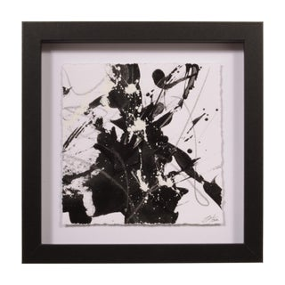 Untitled Original Black and White Painting Floated and Framed For Sale