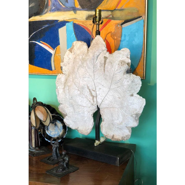 French Lamp With Vintage Plaster Leaf For Sale - Image 4 of 8